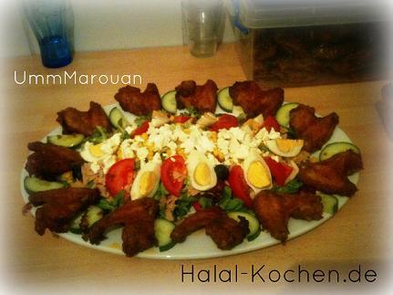 Hähnchenflügel Salat