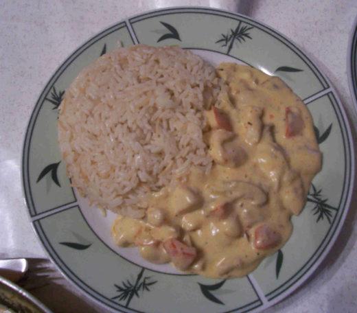 Hähnchensoße mit Reis